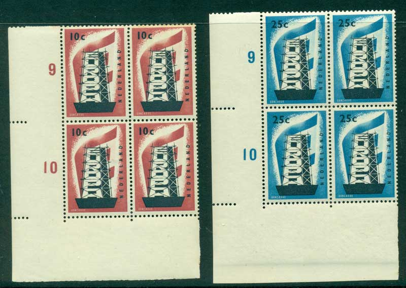 Netherlands 1956 Europa Cyl Blk 4 MUH (gum tones) Lot17437
